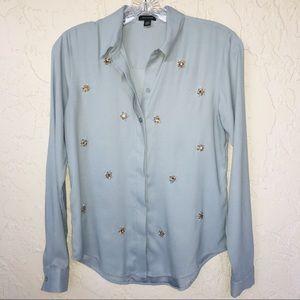 Ann Taylor Crystal Embellished Blue Blouse XXS